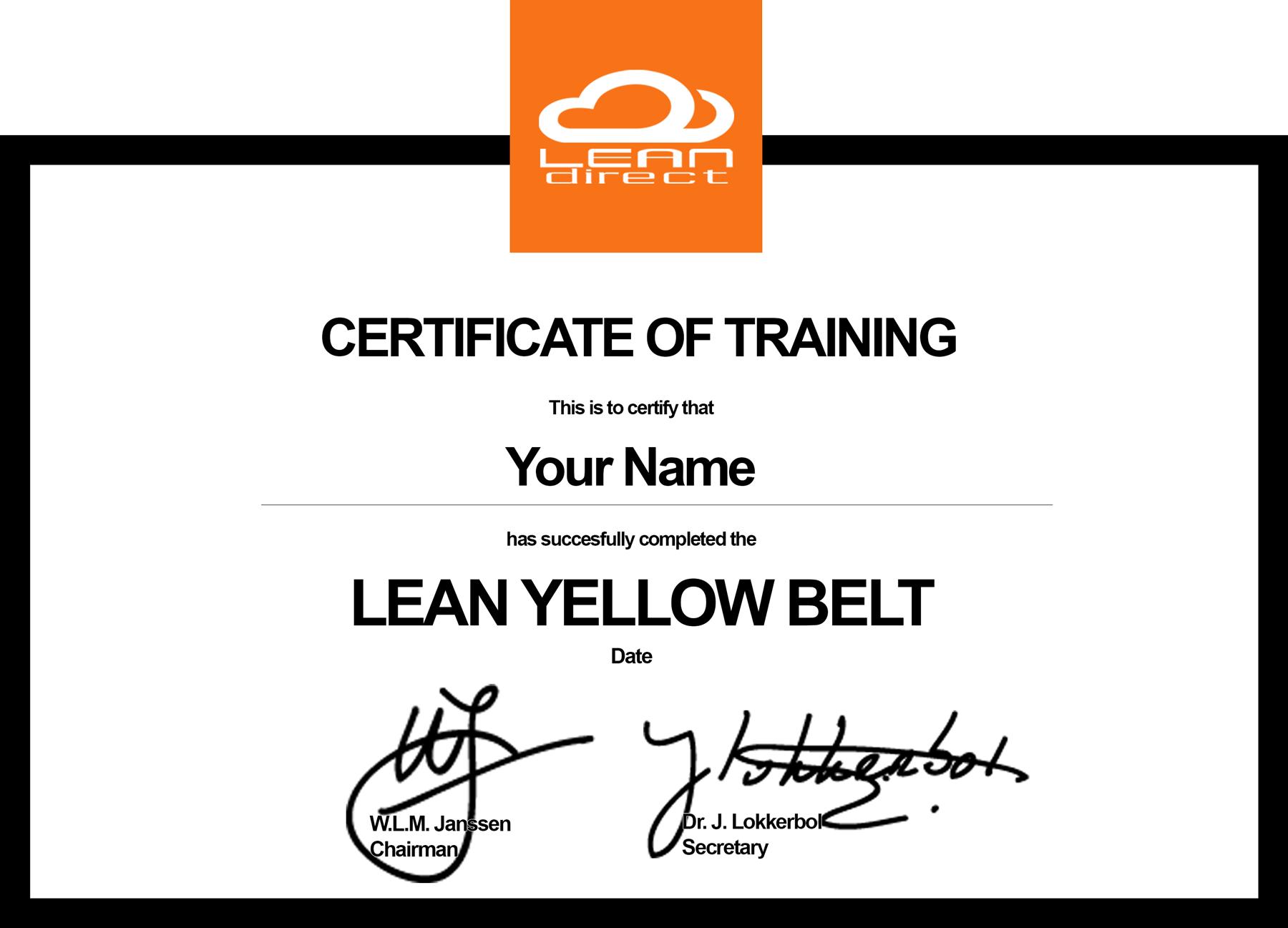 certificaat-yellow-belt